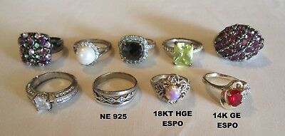 Estate Junk Drawer Lot of 9 Vintage Costume Jewelry Rings