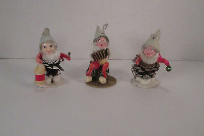 3 Vintage Pinecone Elves Spun Cotton Chenille Mercury Glass Mica Made In Japan