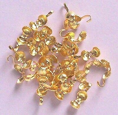 100 shell pattern gold plated calottes/necklace ends, jewellery findings