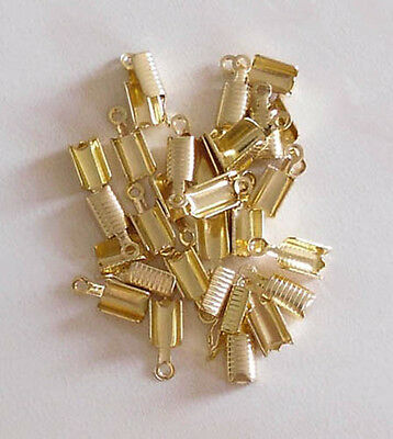 50 GP large ridged folding crimps/ends for thong & cord, findings for jewellery