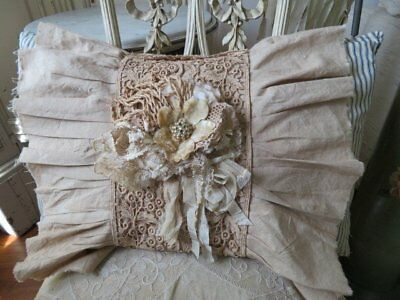 GORGEOUS Vintage Ticking Feather PILLOW with Cover LACE TRIM RIBBON Jewelry