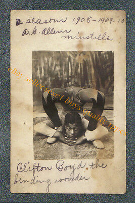 MINSTREL CLIFTON BOYD THE BENDING WONDER  - circa 1909 rppc Photo GRADE 2