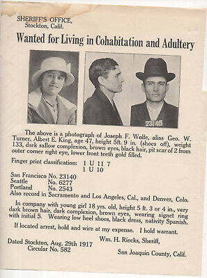 1917 Stockton CA police wanted flyer - cohabitation and adultery w/ teen