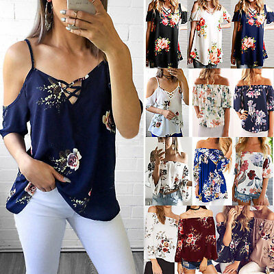 Women's Summer Cold Off Shoulder Floral T-Shirts Casual Blouse Loose Beach Tops
