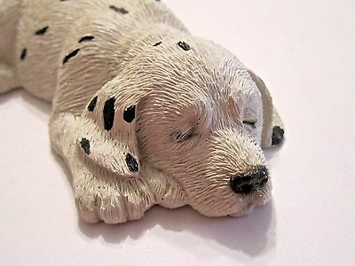Collectible Dalmation Textured Sleeping Puppy Dog Figure Signed