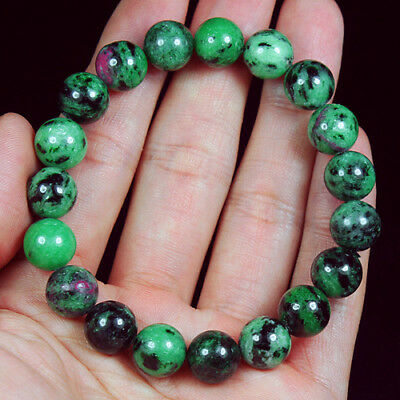 181.25Ct 100% Natural Red Green Bi Color Ruby In Zoisite Beads Bracelet BRG322