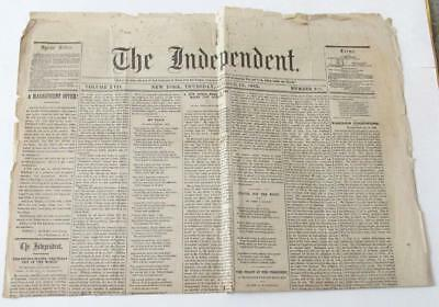 1865 The Independent Newspaper New York Front Page Jefferson Davis Lincoln
