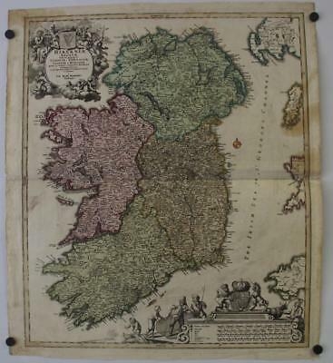 Ireland 1720 Johann Baptist Homann Antique Original Copper Engraved Map