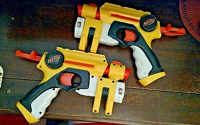 Lot of 2 Hasbro Nerf Nite Finder Pull Back action Pistol Dart Guns W Laser Sight