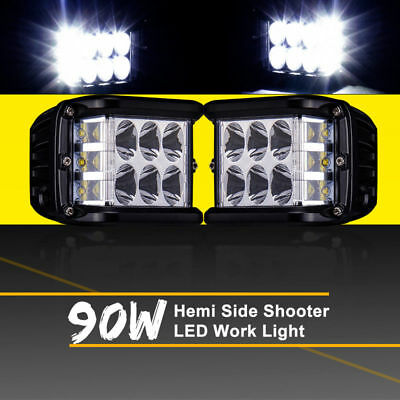 Work Cube Side Shooter LED Light Bar Spot Flood Driving Fog Pod 4'' 90W CREE 1PC
