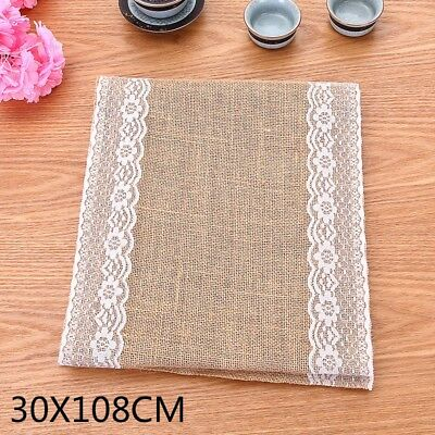 Hessian Burlap Table Runner Table Flag Wedding Lace Natural Rustic Vintage  Decor