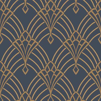 Astoria Art Deco Wallpaper Dark Blue / Gold - Rasch 305340