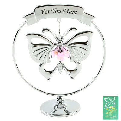 Crystocraft Crystal Gift - For You Mum Pink Butterfly Swarovski Elements