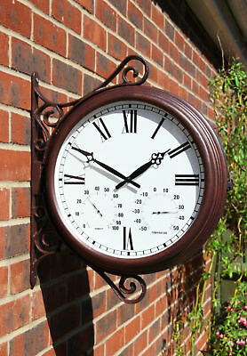 Bracket Wall Clock Thermometer Humidity Outdoor Double Sided Garden Station NEW