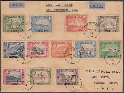 ADEN 1951 KG VI ½a 10 Rs RARE 12 VALUES COMPLETE SET ON LAST DAY OF USAGE COVER.
