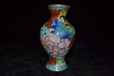 china style Collectible Old cloisonne carve flower rare delicate vase decorate