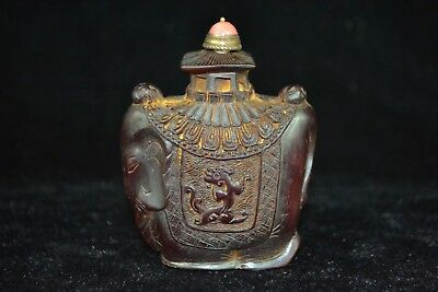 Collectible Old resin carve Lovely elephant dragon rare delicate Snuff Bottle