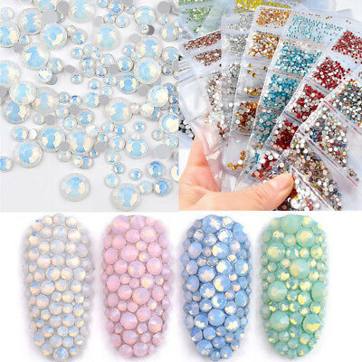 1728Pcs Nail Art Rhinestones Glitter Crystal Gems Tips Manicure 3D Decoration