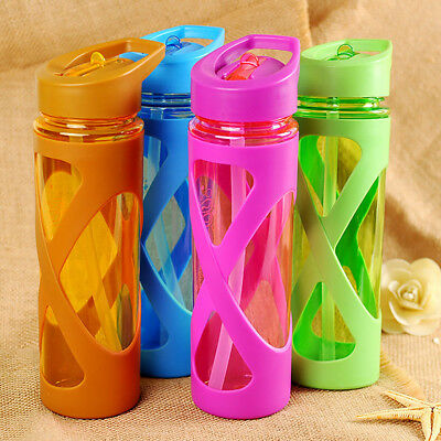 Water Bottle Beverage Cup Silicone Plastic Sleeve Leakproof with Straw Drink