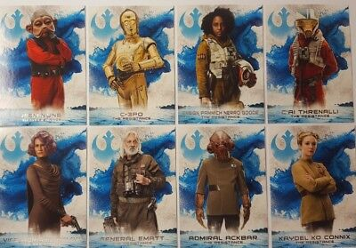 star wars THE LAST JEDI Series 2 LEADERS OF THE RESISTANCE Card Set of 10 topps