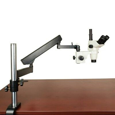 45X Articulating Arm Zoom Stereo Trinocular Microscope for Assembly & Inspection