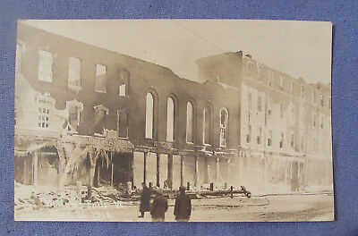 Vintage Mar 21 1912 Bellows Falls Vt Downtown Fire Real Photo Postcard Rppc