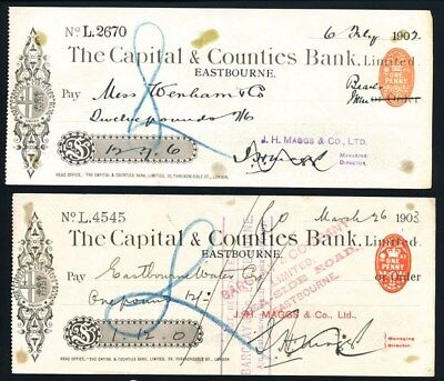 "Great Britain: Capital & Counties Bank 1902-03 ""LOT OF 2 CHEQUES"" + Duty Stamps"