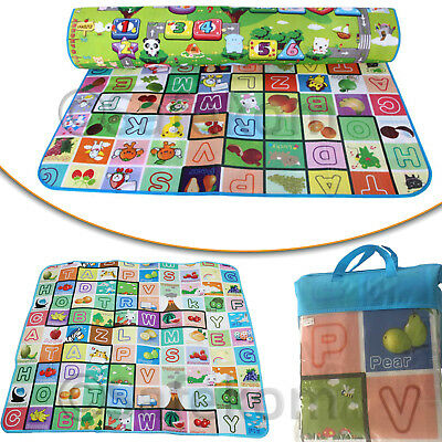200 x 180cm 2 Side Kids Crawling Educational Game Baby Play Mat Soft Foam Carpet