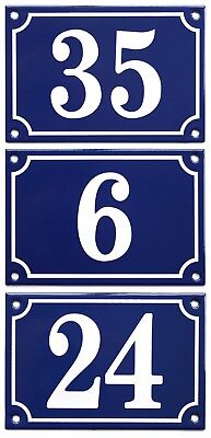 French style Vitreous Enamel House Numbers - 1-99; 3-digit numbers to order
