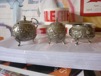 Antique Late 19Th Early 20Th Century Indian Silver Cruet Set 4 Ozs