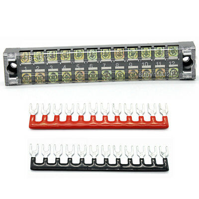 Screw Terminal Block Covered Strip Fixed Safer Wire Connection 12 Positions 25A