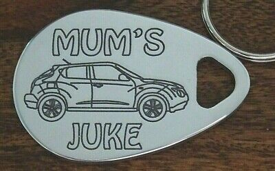MUM'S NISSAN JUKE personalised keyring engraved polished aluminium birthday gift