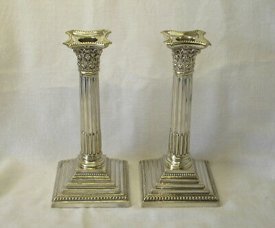 Victorian pair silver plated Corinthian candlesticks, neoclassical style columns