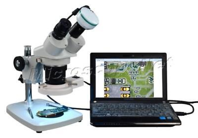 5-60X Binocular Stereo Microscope+8W Ring Light+2MP Camera for Windows & MAC