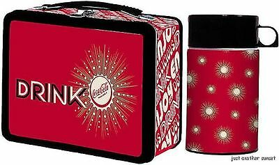 Red Black Retro Atomic Style Metal Drink Coca Cola Coke Lunchbox with Thermos