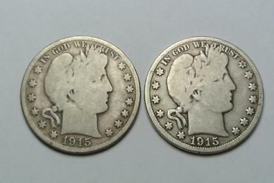 1915-D & 1915-S Barber Half Dollars, Good Condition - C6156