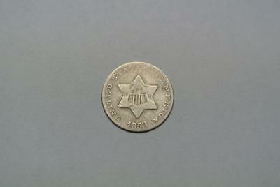 1853 Silver 3, Three Cent Piece, Good Condition - C6427