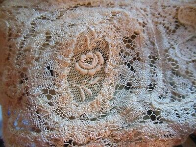 Vintage 1920's Embroidered Rose Medallion Long Wide Lace Collar