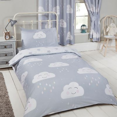 Happy Clouds + Stars Junior Toddler Duvet Cover Set Childrens 2 In 1 Design