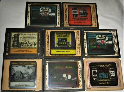 8 Color Magic Lantern Glass Slides, Dutch Boy, Red Star, Red Seal, New Perfectio