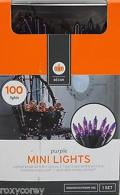 Halloween 100 Mini Purple String Light Set Lighted Length 22 ft Black Wire NIB