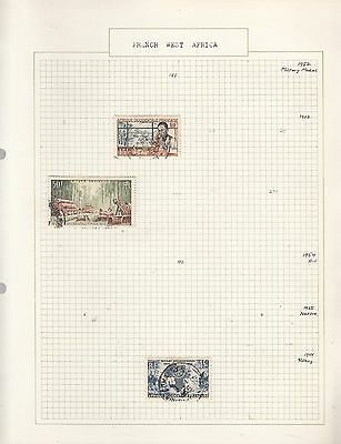 FRENCH WEST AFRICA 1952-5 on Old Album Page removed for shipping