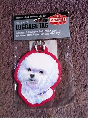 Bichon Luggage Tag, Back Pack Tag, Identification Tag For Misc. Items