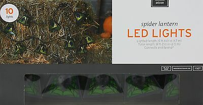 Halloween Spider Lantern 10 LED lights Black Wire Lighted Length 5 ft 6 1/2 in