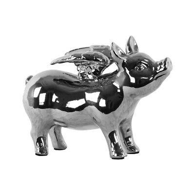 Ceramic Standing Pig Figurine with Wings Polished Chrome Finish Silver