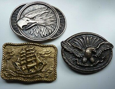 Group of 3 Vintage Belt Buckles:  2 American Eagles and one Old Ship