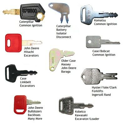 10 Keys Heavy Equipment / Construction Ignition Key Set Caterpillar Case JD more