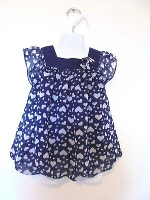 Healthtex - Navy w/White Hearts Lined Top Ruffle Sleeves Girls 4T