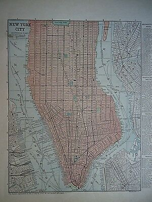 Vintage 1896 NEW YORK CITY MAP Old Authentic Antique Atlas Map 96/70318