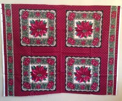 Vintage Fabric Christmas Poinsettia Quilt Block Sewing Quilting Crafts Holiday